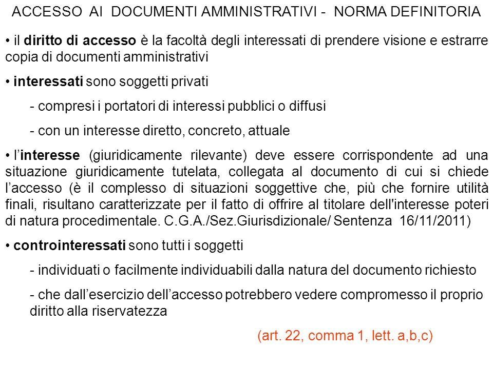 ACCESSO AI DOCUMENTI AMMINISTRATIVI - NORMA DEFINITORIA