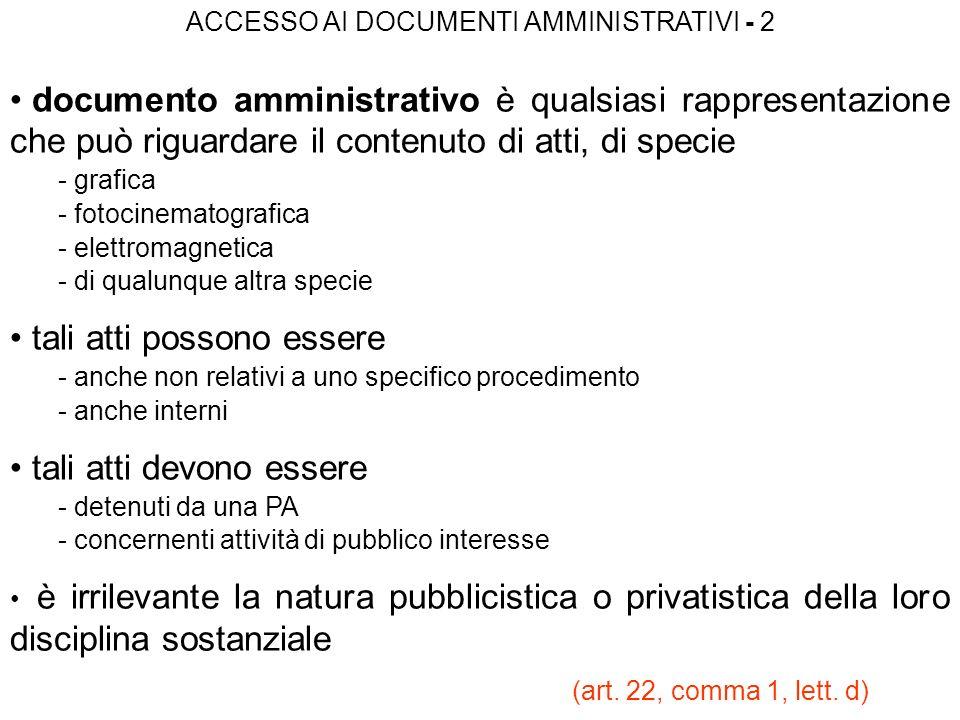ACCESSO AI DOCUMENTI AMMINISTRATIVI - 2