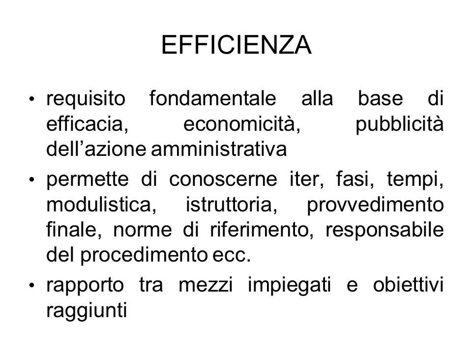 EFFICIENZA requisito fondamentale alla base di efficacia, economicità, pubblicità dell'azione amministrativa.
