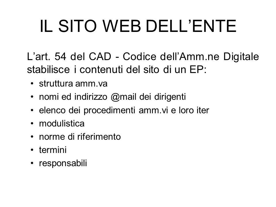 IL SITO WEB DELL'ENTE L'art. 54 del CAD - Codice dell'Amm.ne Digitale stabilisce i contenuti del sito di un EP:
