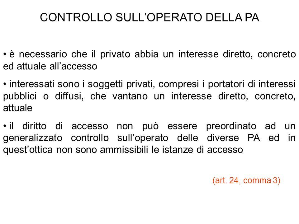 CONTROLLO SULL'OPERATO DELLA PA