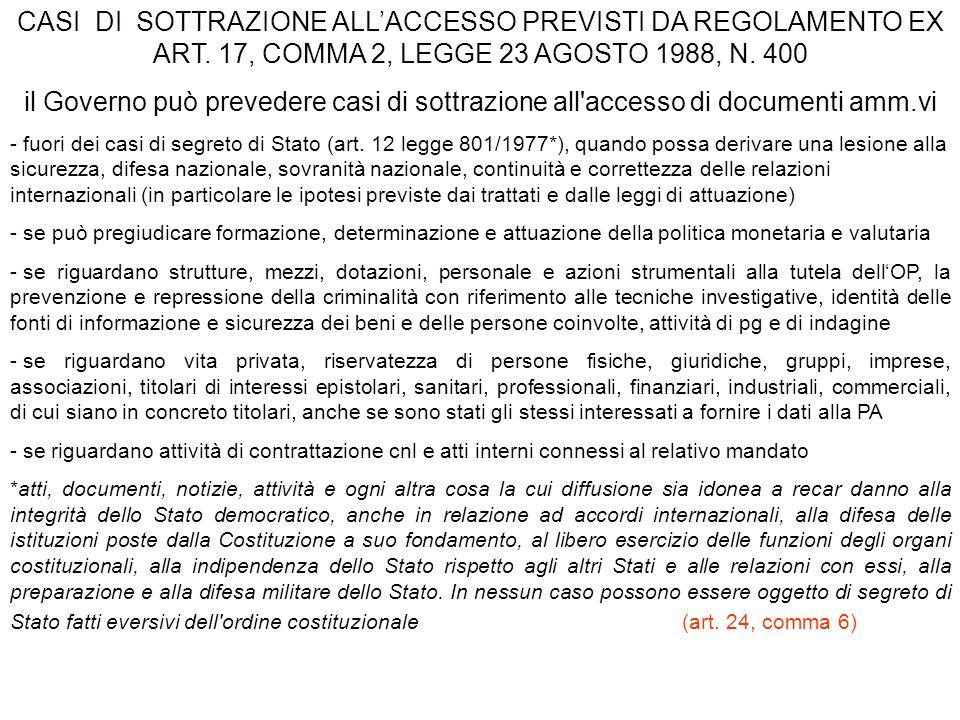 CASI DI SOTTRAZIONE ALL'ACCESSO PREVISTI DA REGOLAMENTO EX ART