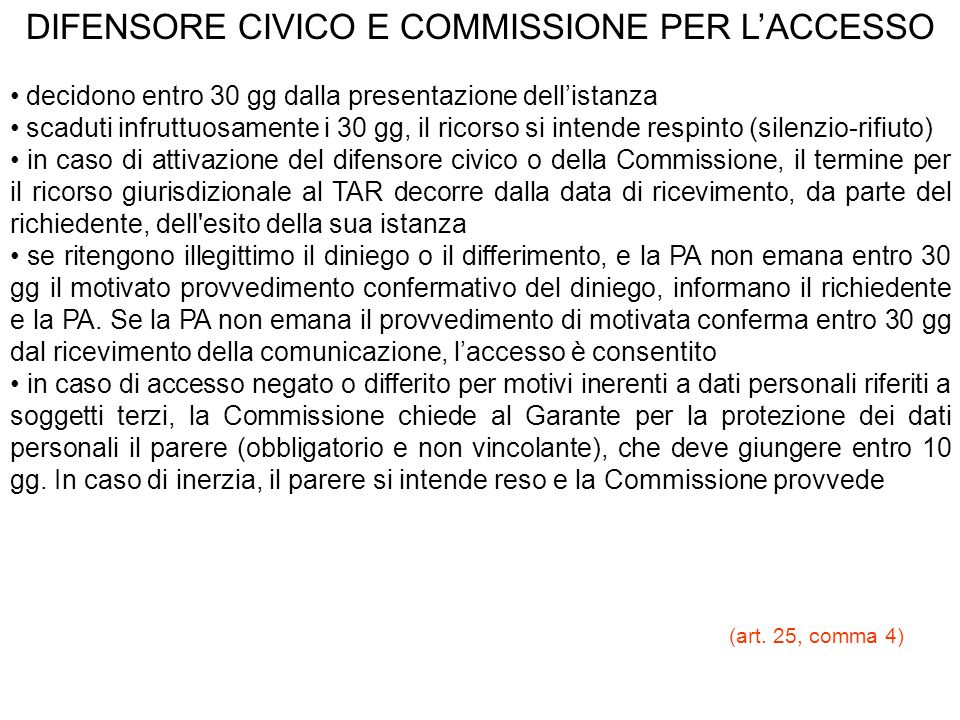 DIFENSORE CIVICO E COMMISSIONE PER L'ACCESSO