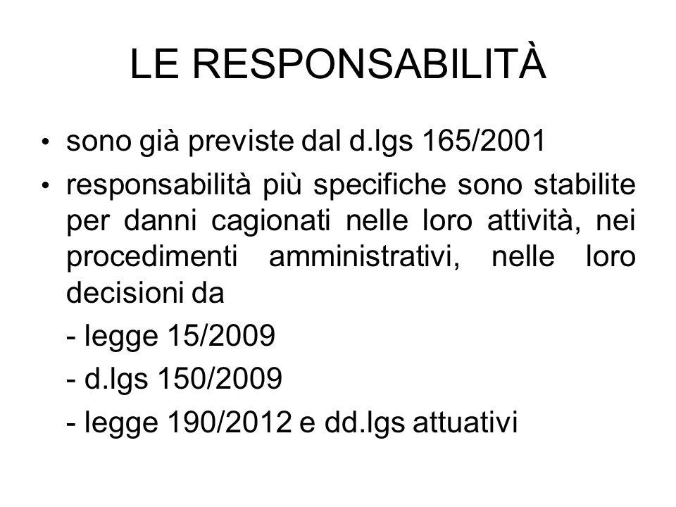LE RESPONSABILITÀ sono già previste dal d.lgs 165/2001