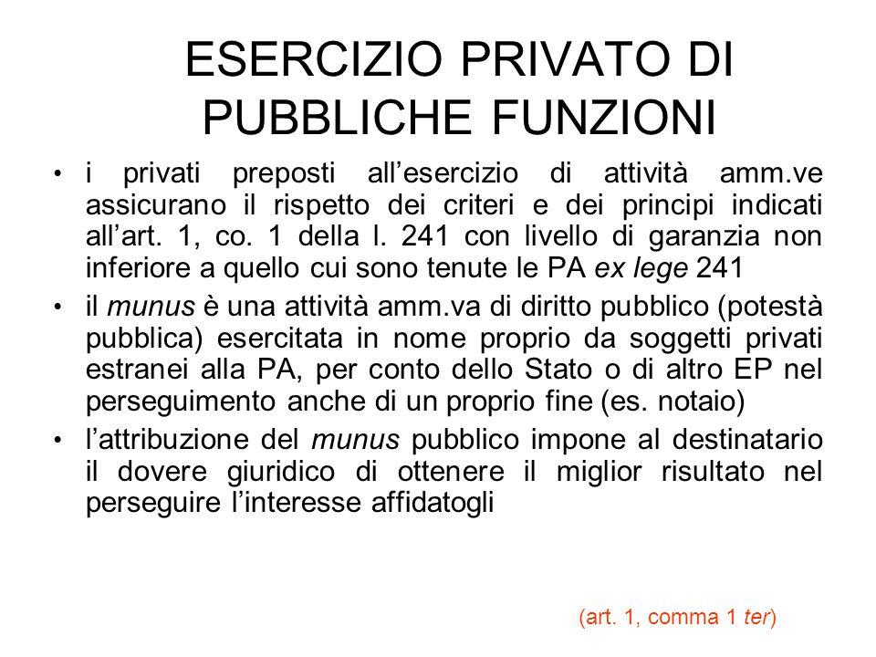 ESERCIZIO PRIVATO DI PUBBLICHE FUNZIONI