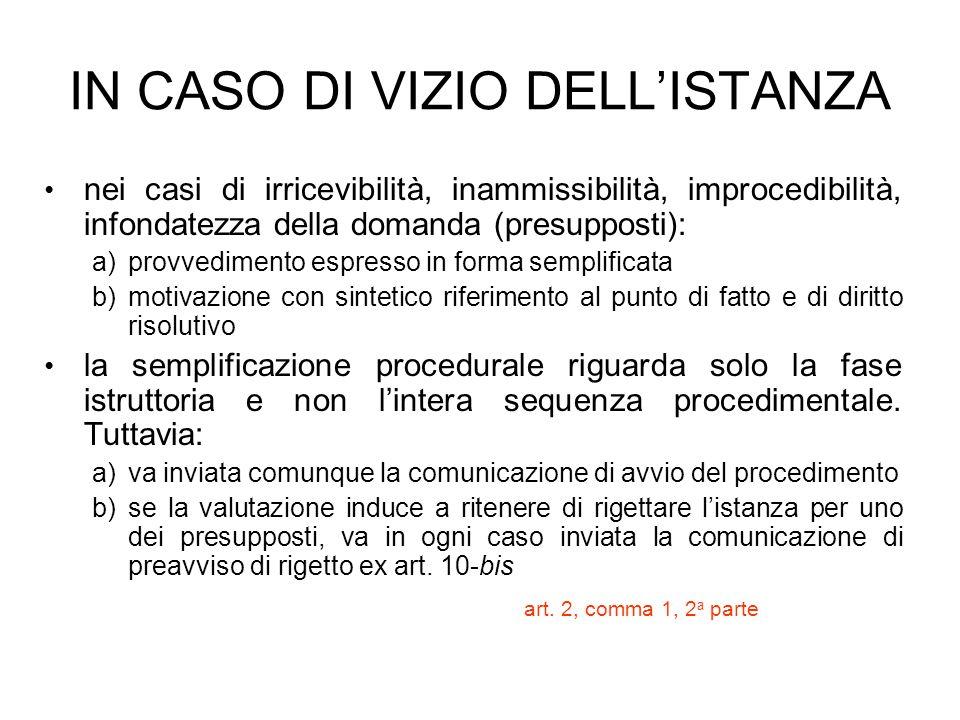 IN CASO DI VIZIO DELL'ISTANZA