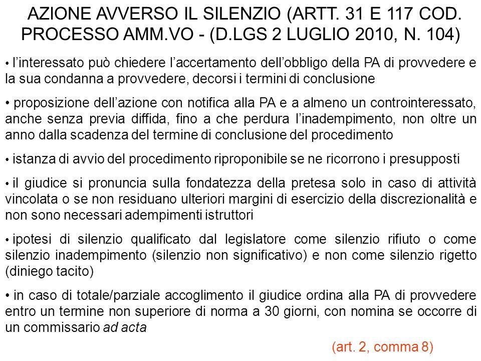 AZIONE AVVERSO IL SILENZIO (ARTT. 31 E 117 COD. PROCESSO AMM. VO - (D