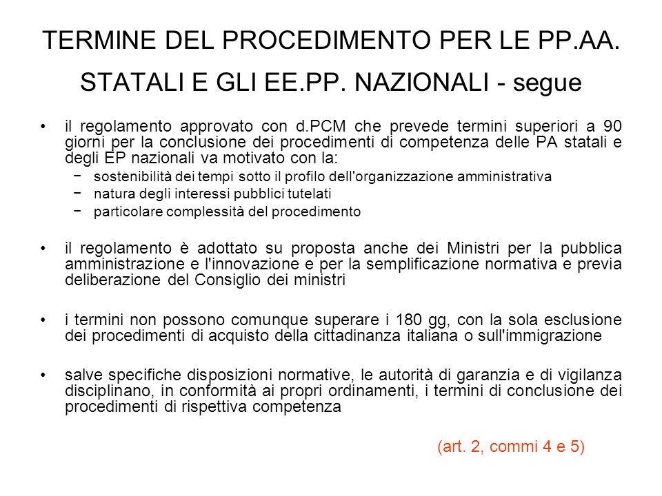 TERMINE DEL PROCEDIMENTO PER LE PP. AA. STATALI E GLI EE. PP