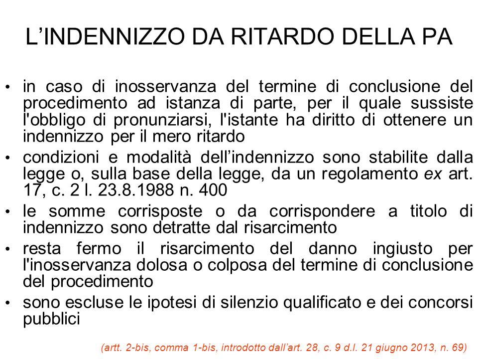 L'INDENNIZZO DA RITARDO DELLA PA