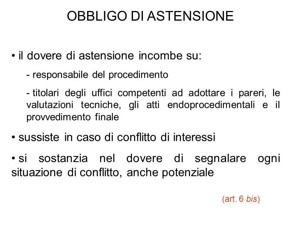 OBBLIGO DI ASTENSIONE il dovere di astensione incombe su: