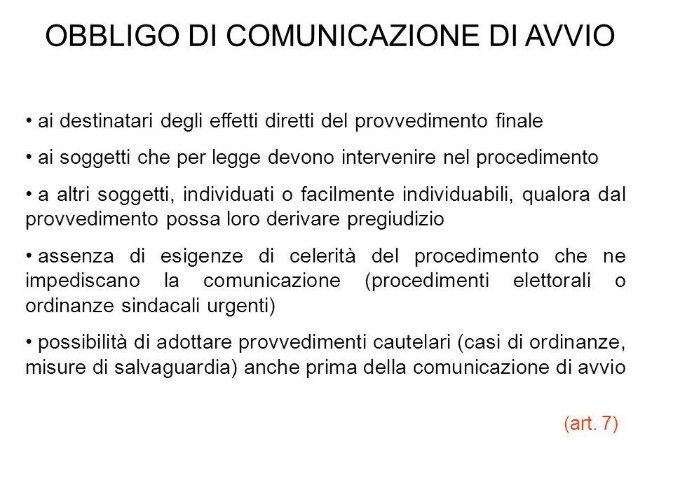 OBBLIGO DI COMUNICAZIONE DI AVVIO