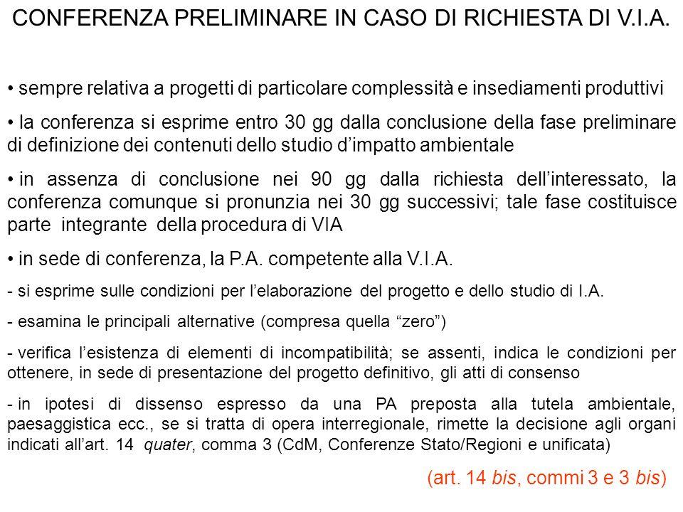 CONFERENZA PRELIMINARE IN CASO DI RICHIESTA DI V.I.A.