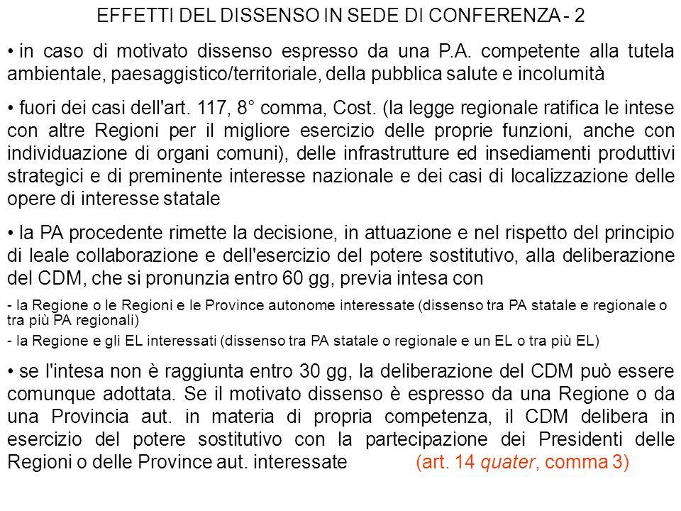 EFFETTI DEL DISSENSO IN SEDE DI CONFERENZA - 2