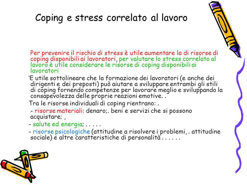 Coping e stress correlato al lavoro