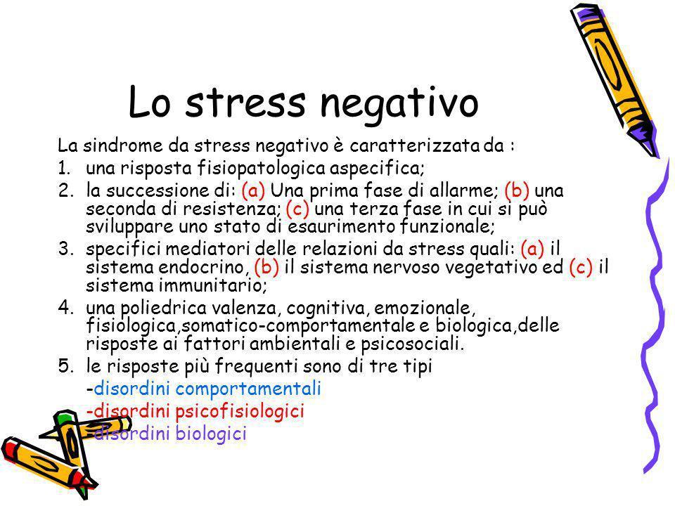 Lo stress negativo La sindrome da stress negativo è caratterizzata da : una risposta fisiopatologica aspecifica;