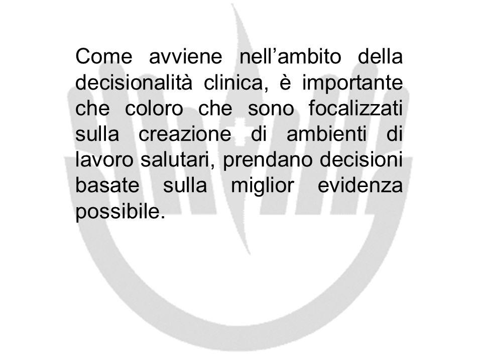 Come avviene nell'ambito della decisionalità clinica, è importante che coloro che sono focalizzati sulla creazione di ambienti di lavoro salutari, prendano decisioni basate sulla miglior evidenza possibile.
