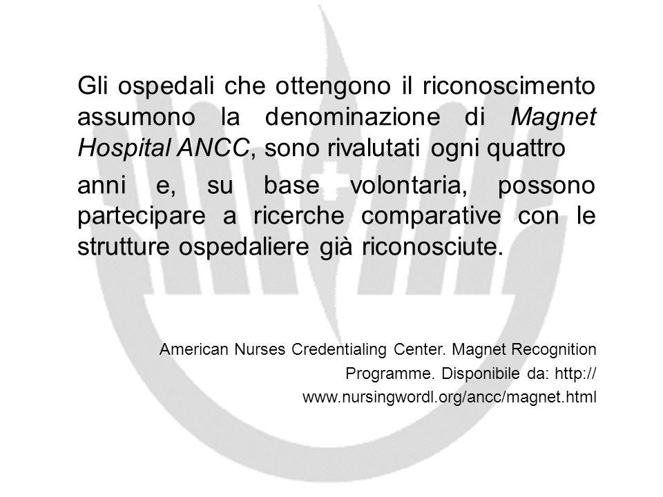 Gli ospedali che ottengono il riconoscimento assumono la denominazione di Magnet Hospital ANCC, sono rivalutati ogni quattro