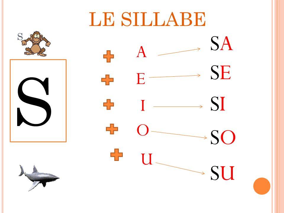 LE SILLABE s SA A SE S E SI I O SO U SU