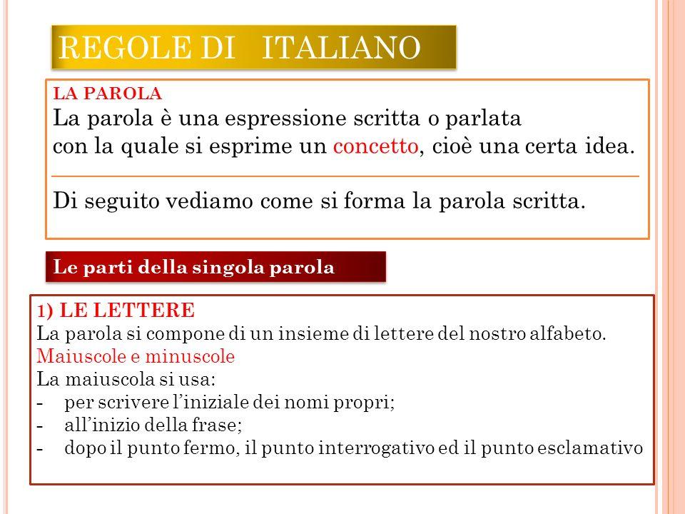 REGOLE DI ITALIANO La parola è una espressione scritta o parlata