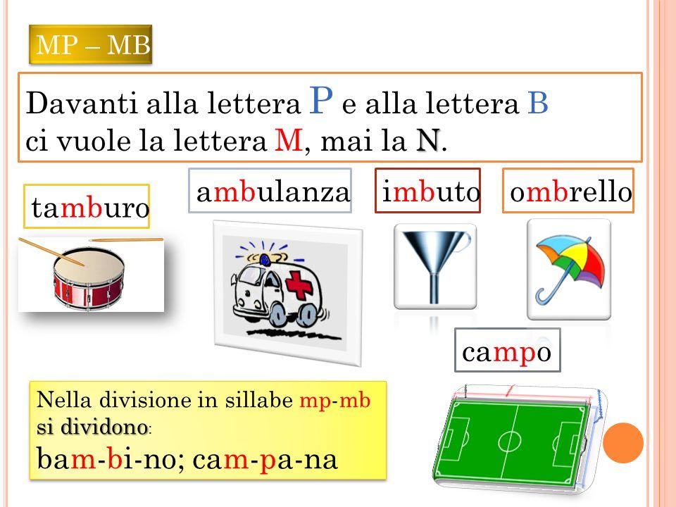 Davanti alla lettera P e alla lettera B