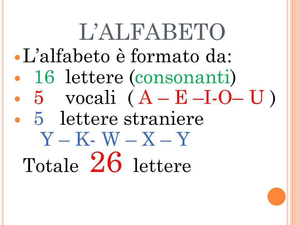 L'ALFABETO L'alfabeto è formato da: 16 lettere (consonanti)