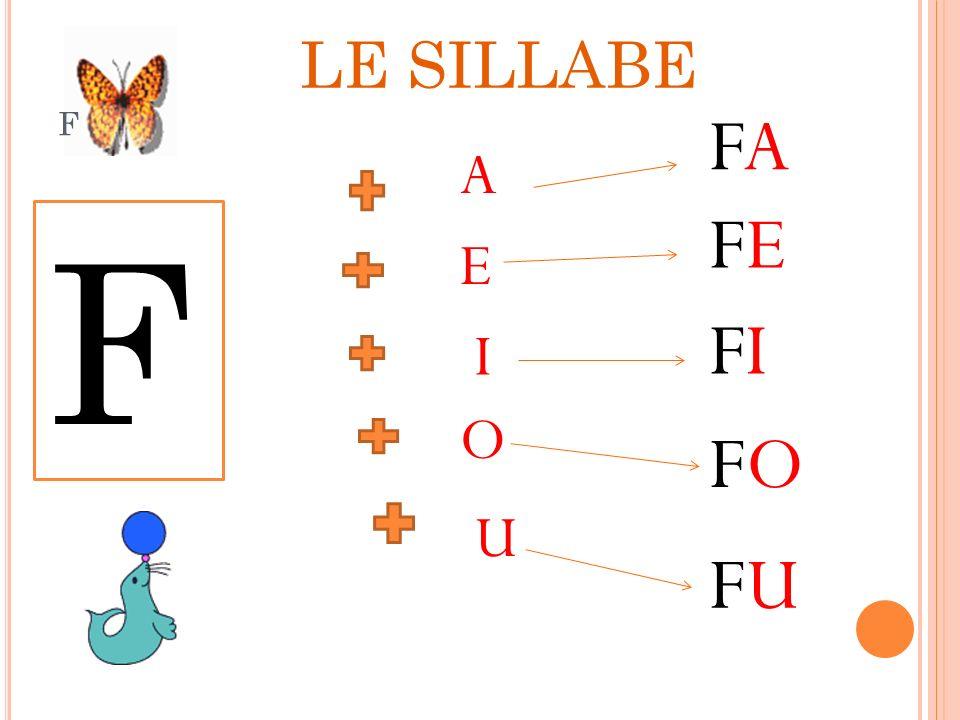 LE SILLABE f FA A FE F E FI I O FO U FU