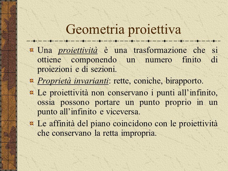 Geometria proiettiva Una proiettività è una trasformazione che si ottiene componendo un numero finito di proiezioni e di sezioni.