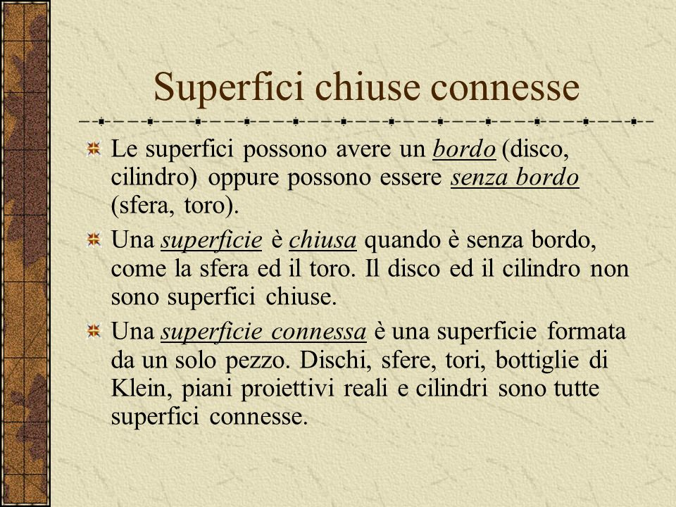 Superfici chiuse connesse
