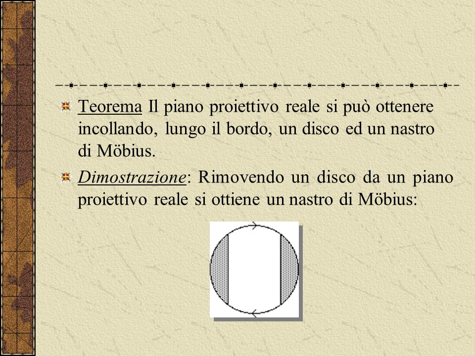 Teorema Il piano proiettivo reale si può ottenere incollando, lungo il bordo, un disco ed un nastro di Möbius.