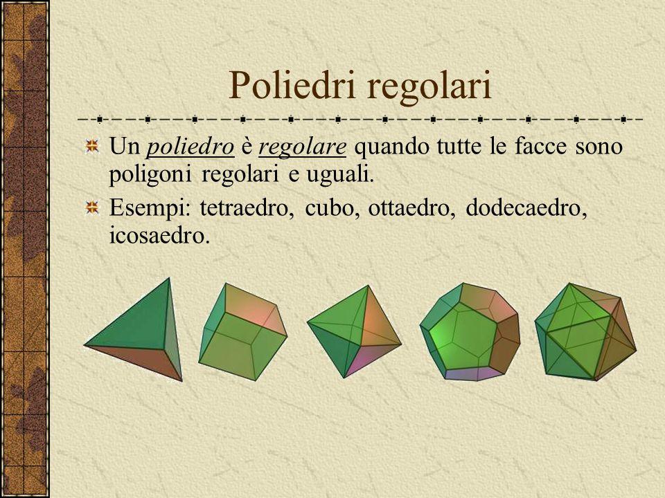 Poliedri regolari Un poliedro è regolare quando tutte le facce sono poligoni regolari e uguali.