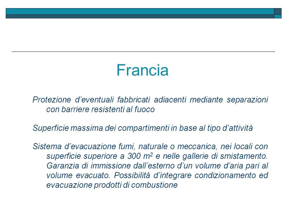 Francia Protezione d'eventuali fabbricati adiacenti mediante separazioni con barriere resistenti al fuoco.