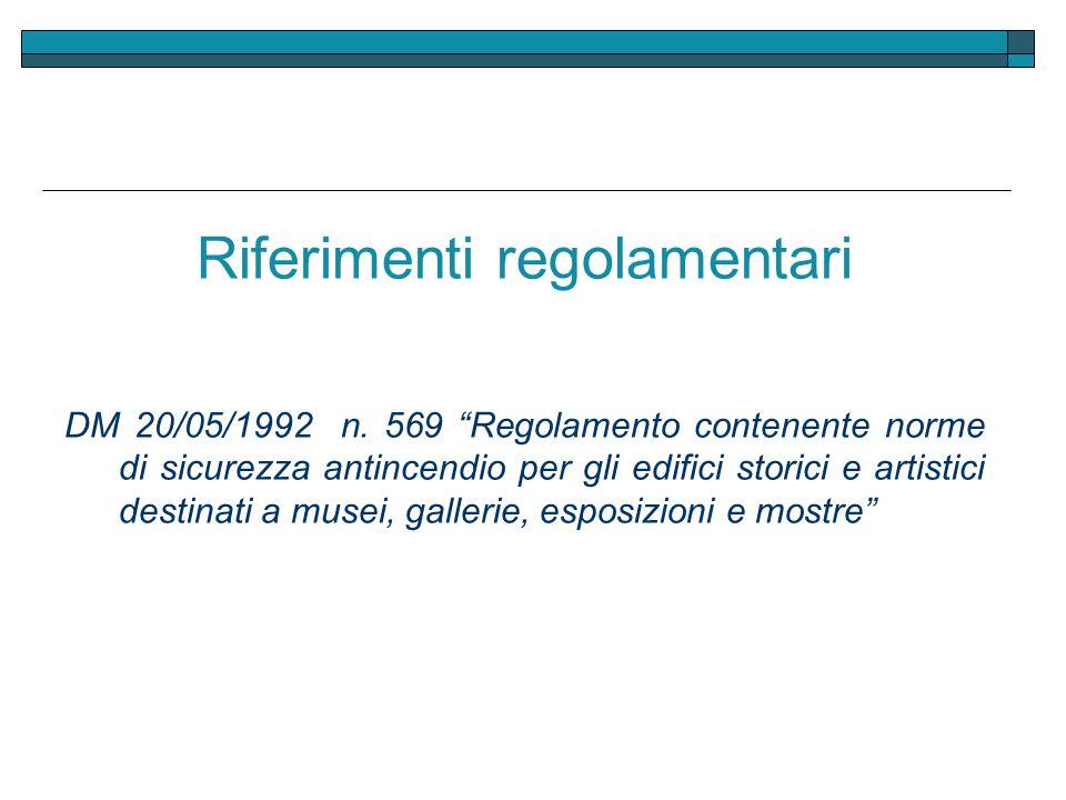 Riferimenti regolamentari
