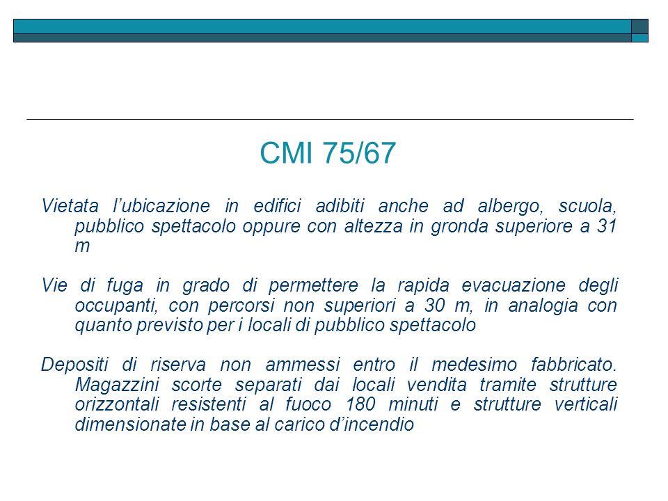 CMI 75/67 Vietata l'ubicazione in edifici adibiti anche ad albergo, scuola, pubblico spettacolo oppure con altezza in gronda superiore a 31 m.