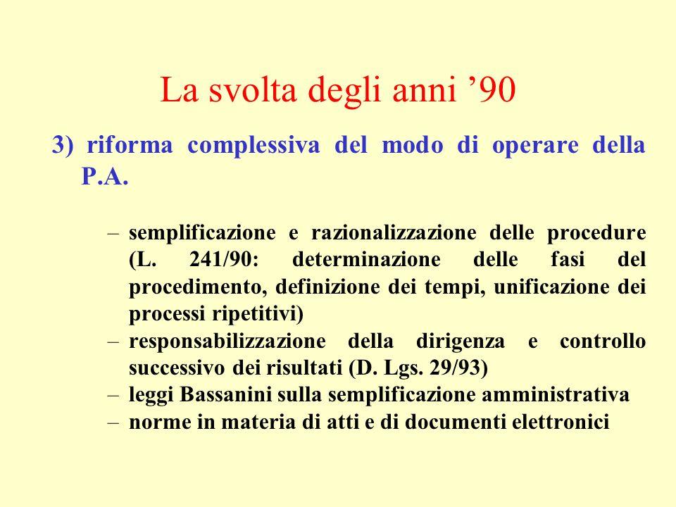 La svolta degli anni '90 3) riforma complessiva del modo di operare della P.A.
