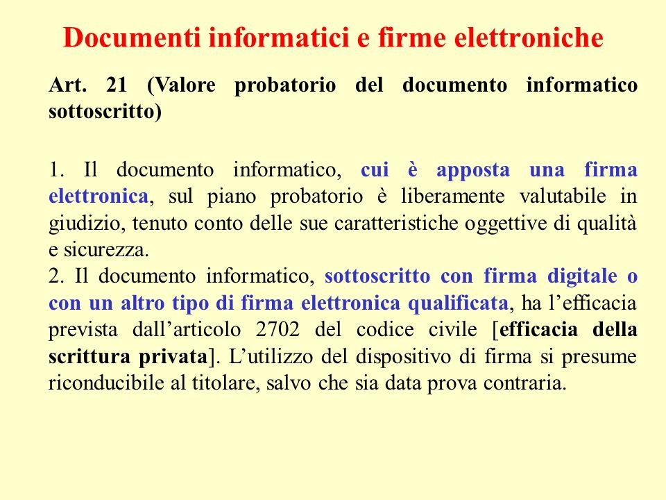 Documenti informatici e firme elettroniche