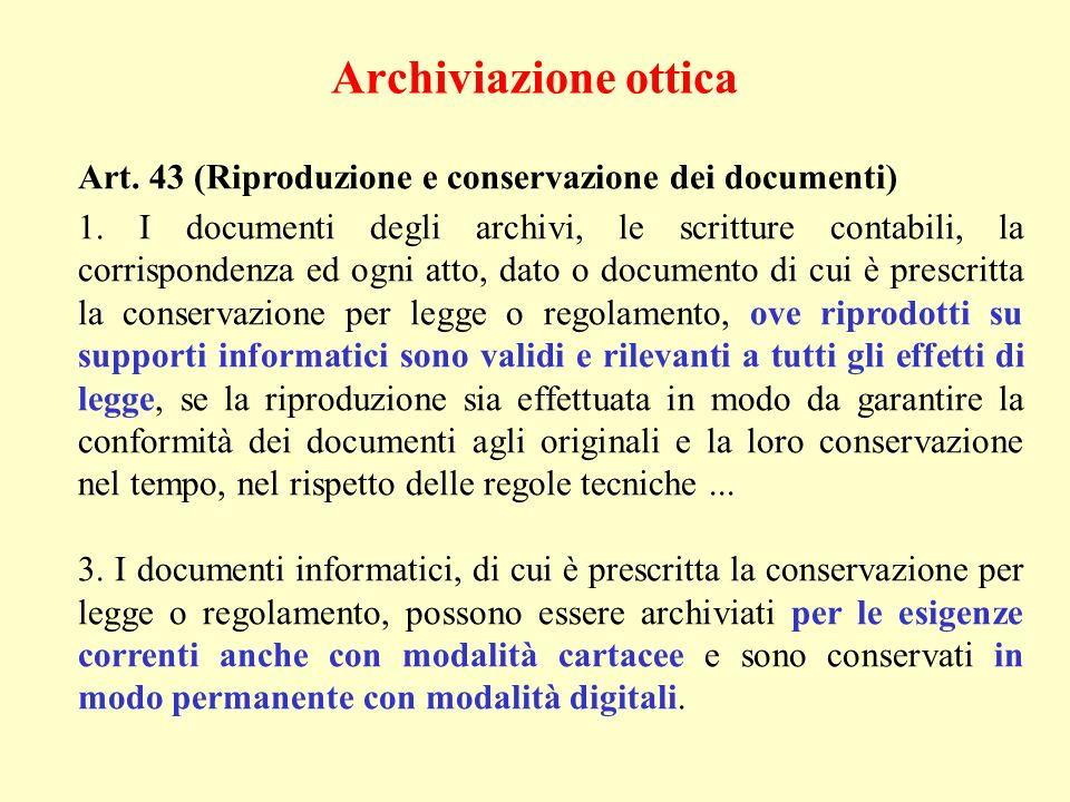 Archiviazione ottica Art. 43 (Riproduzione e conservazione dei documenti)