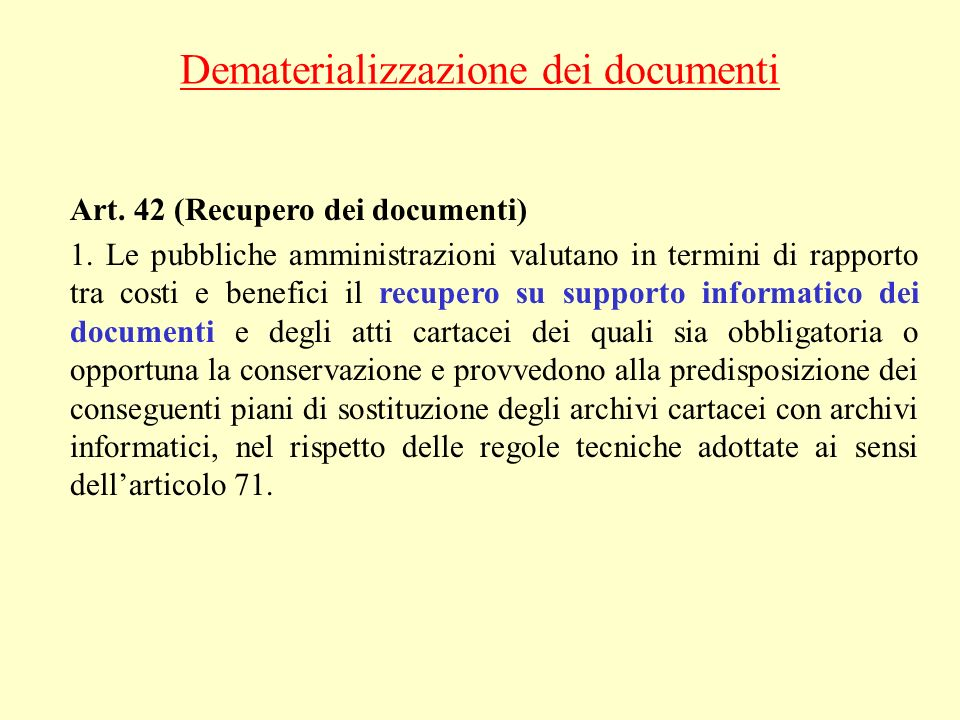 Dematerializzazione dei documenti