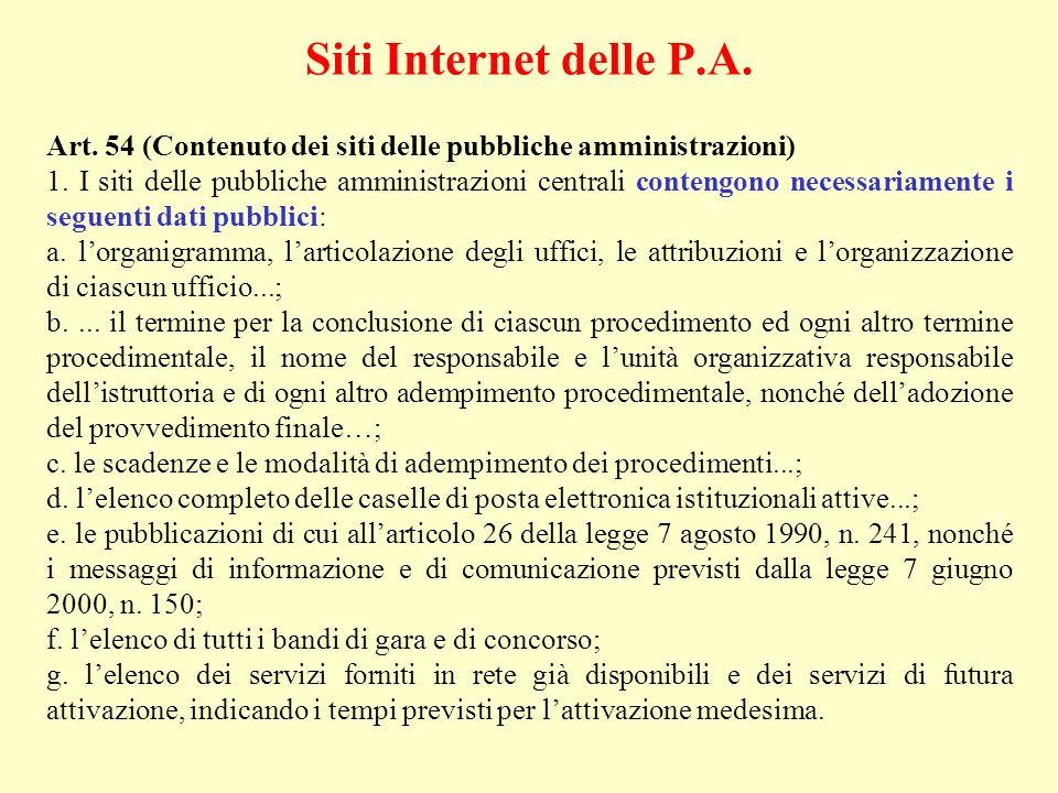 Siti Internet delle P.A. Art. 54 (Contenuto dei siti delle pubbliche amministrazioni)