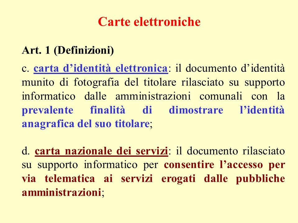 Carte elettroniche Art. 1 (Definizioni)