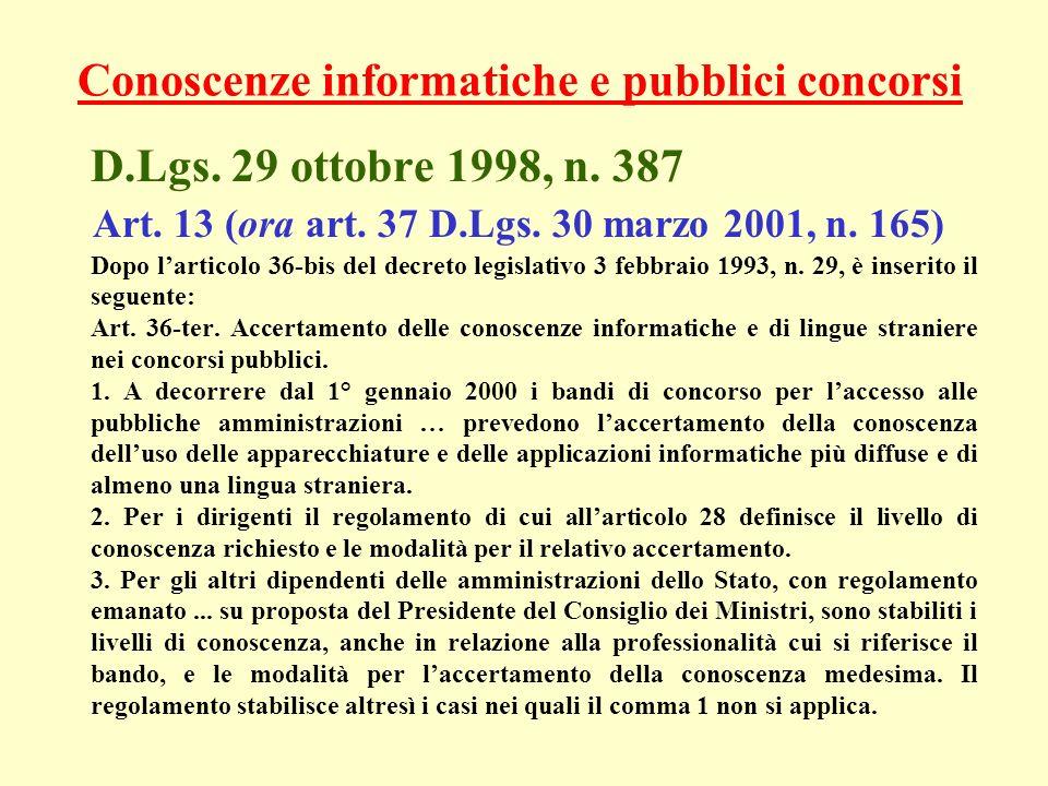 Conoscenze informatiche e pubblici concorsi