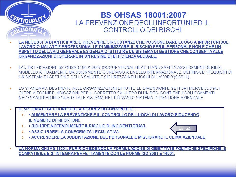 BS OHSAS 18001:2007 LA PREVENZIONE DEGLI INFORTUNI ED IL CONTROLLO DEI RISCHI