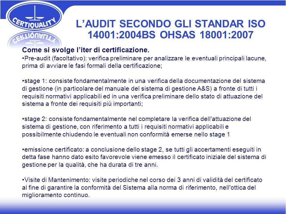 L'AUDIT SECONDO GLI STANDAR ISO 14001:2004BS OHSAS 18001:2007