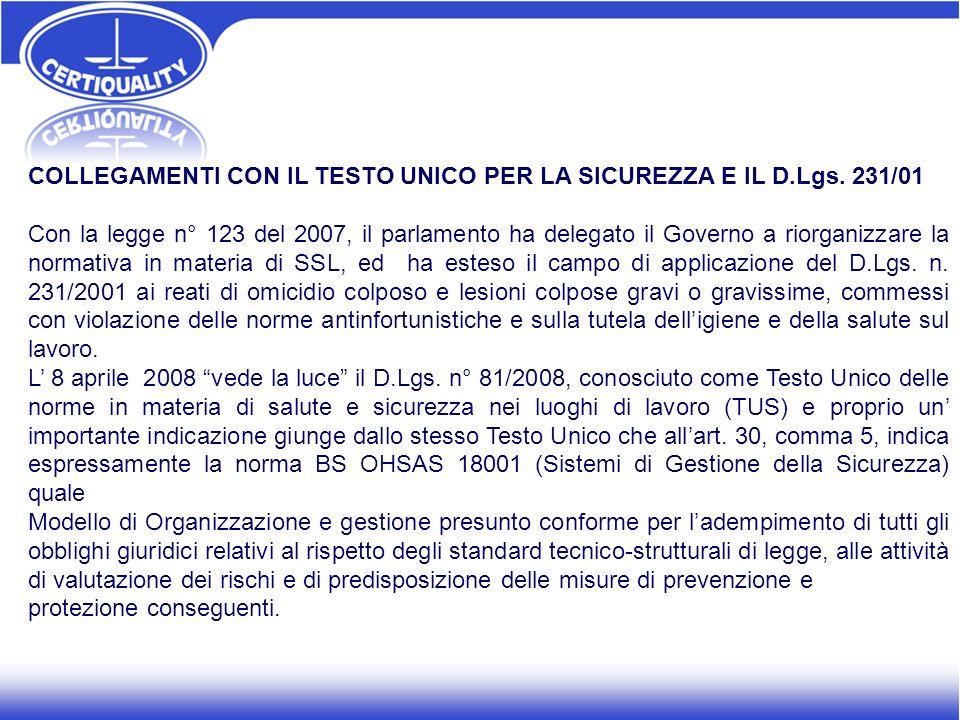 COLLEGAMENTI CON IL TESTO UNICO PER LA SICUREZZA E IL D.Lgs. 231/01