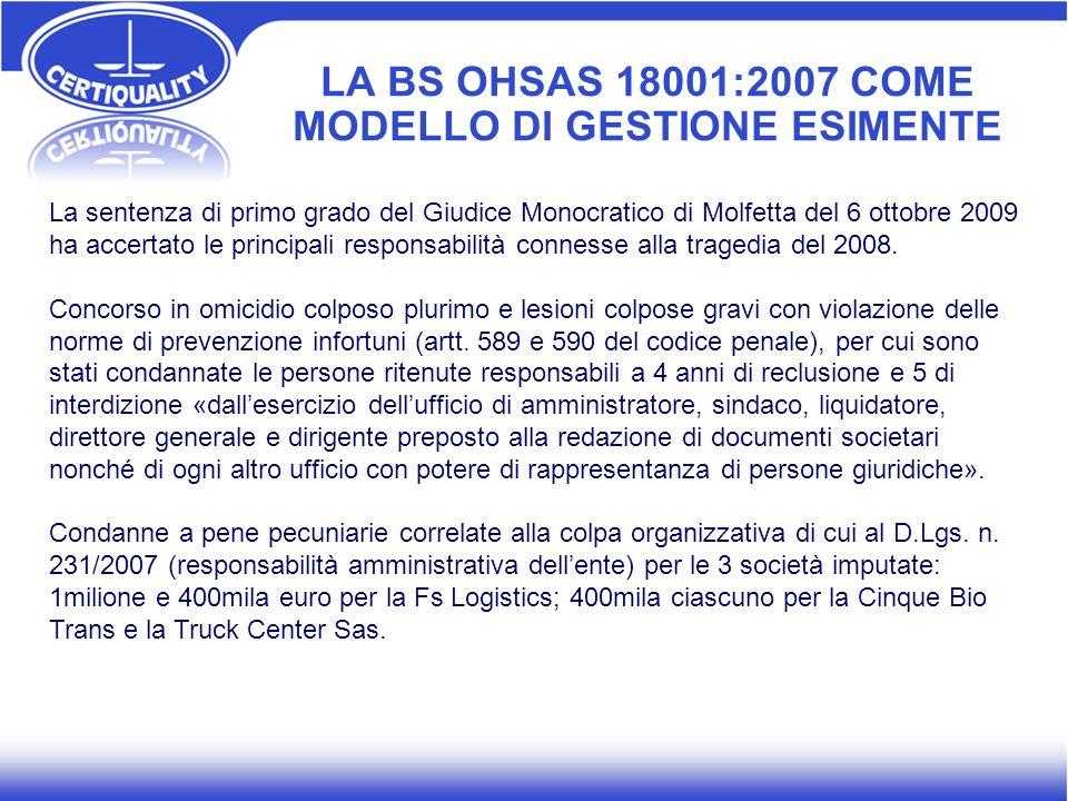 LA BS OHSAS 18001:2007 COME MODELLO DI GESTIONE ESIMENTE