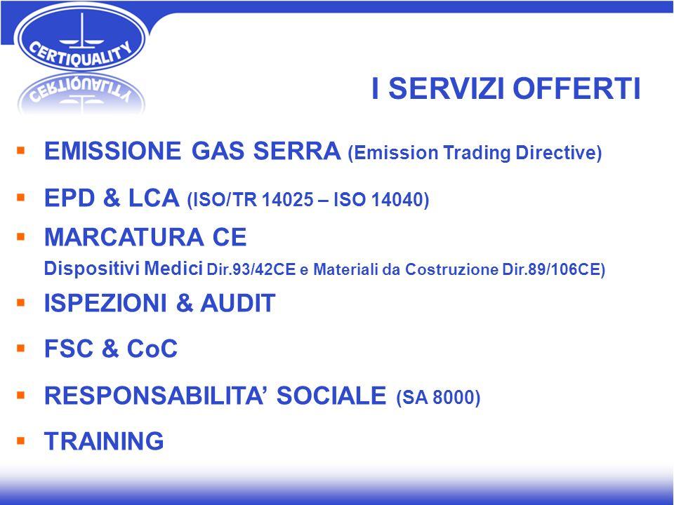 I SERVIZI OFFERTI EMISSIONE GAS SERRA (Emission Trading Directive)