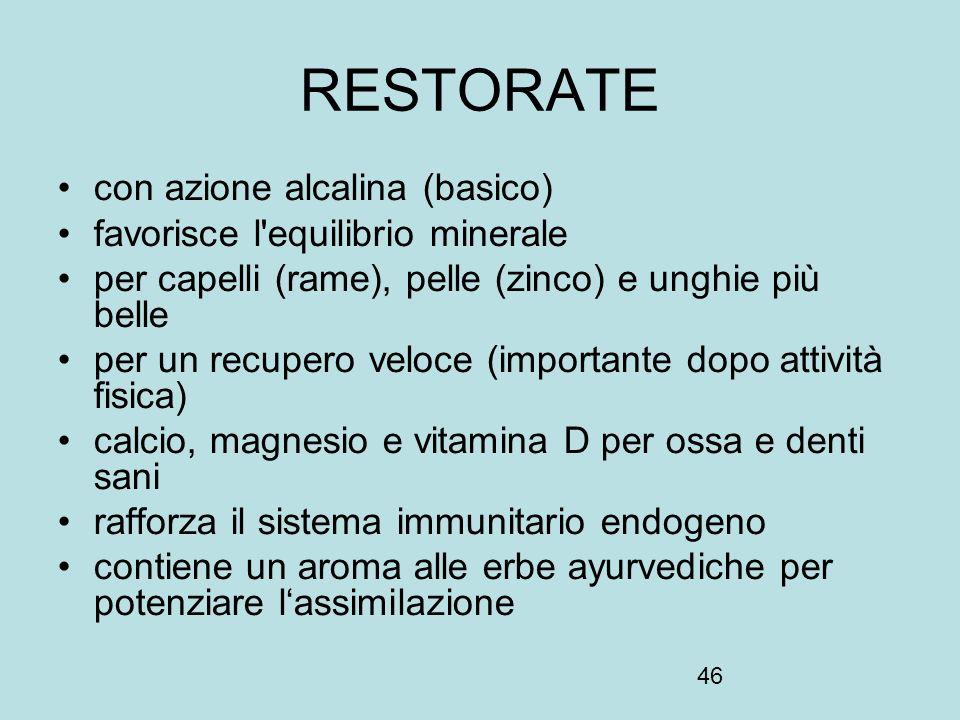 RESTORATE con azione alcalina (basico) favorisce l equilibrio minerale