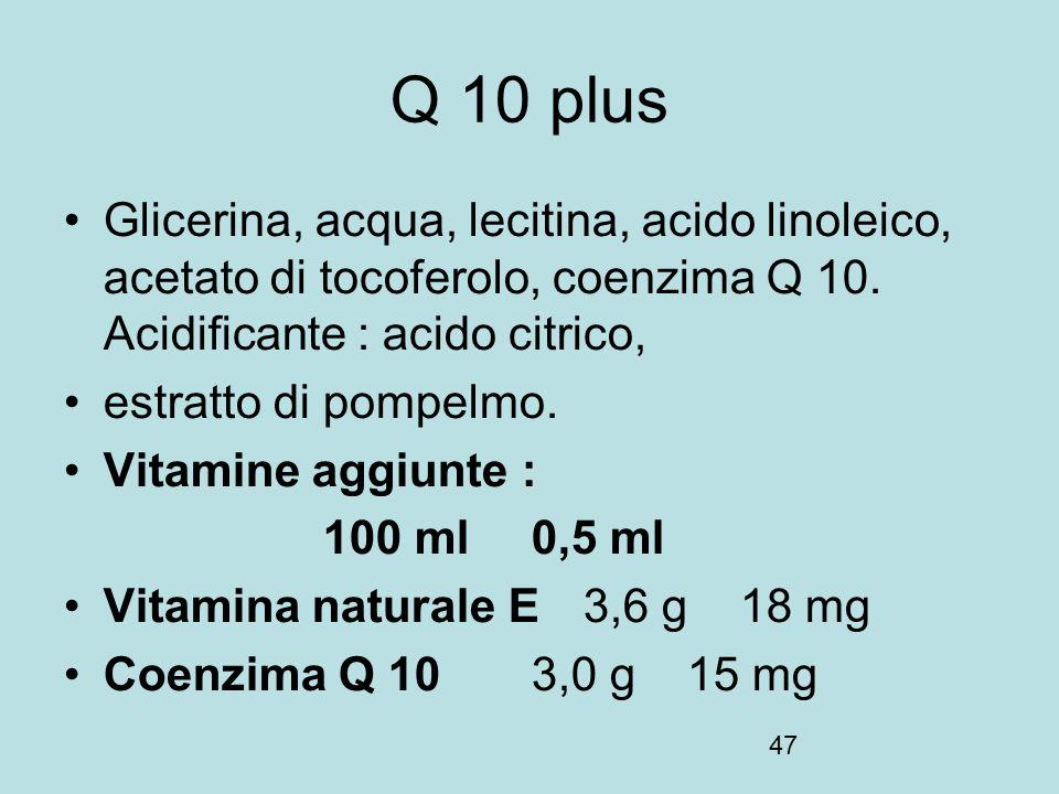 Q 10 plus Glicerina, acqua, lecitina, acido linoleico, acetato di tocoferolo, coenzima Q 10. Acidificante : acido citrico,