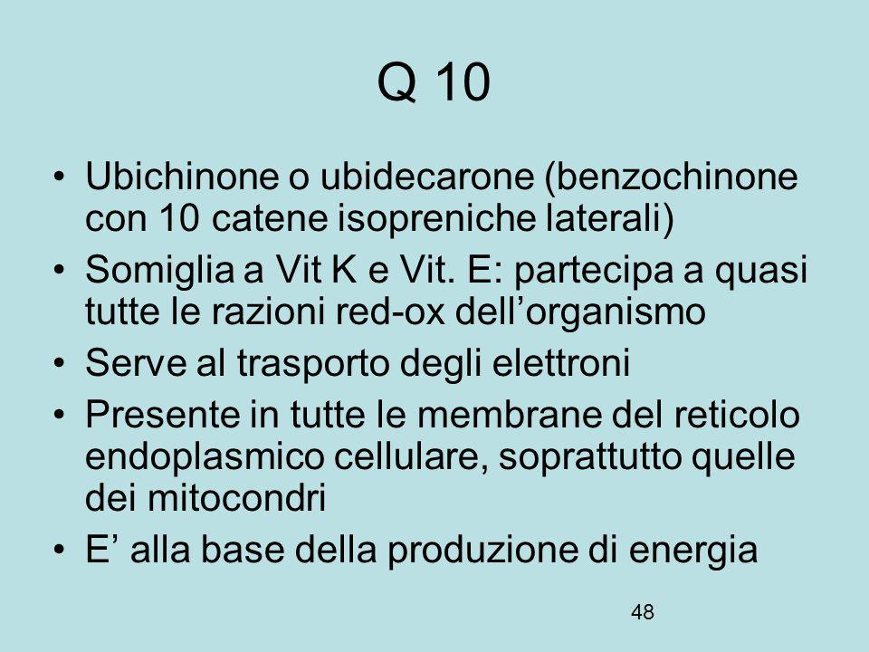 Q 10 Ubichinone o ubidecarone (benzochinone con 10 catene isopreniche laterali)