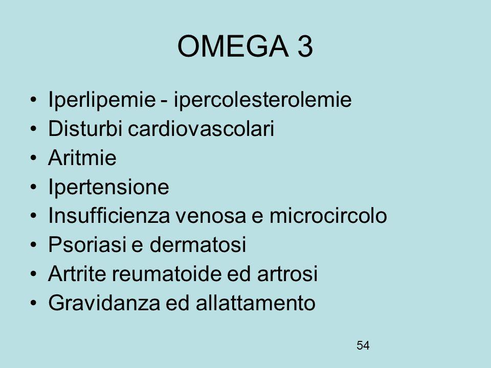 OMEGA 3 Iperlipemie - ipercolesterolemie Disturbi cardiovascolari