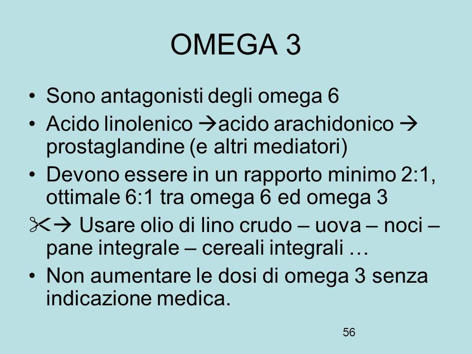 OMEGA 3 Sono antagonisti degli omega 6